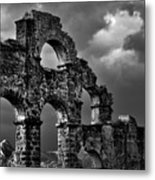 The Roman Aqueduct At Aspendos, Turkey.    Black And White Metal Print