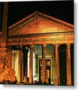 The Roman Pantheon At Night Metal Print