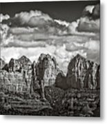 The Rugged Red Rocks In Black And White  Metal Print