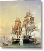 The Russian Cutter Mercury Captures The Swedish Frigate Venus On 21st May 1789 Metal Print by Aleksei Petrovich Bogolyubov