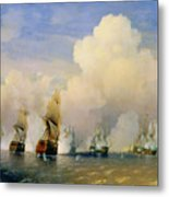 The Russo Swedish Sea War Near Kronstadt In 1790  Metal Print by Aleksei Petrovich Bogolyubov