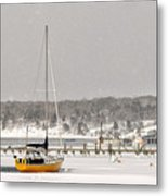 The Sailboat Korovin Is Moored In A Mostly Frozen Stage Harbor I Metal Print