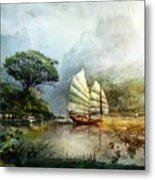 Sailing Boat In The Lake Metal Print