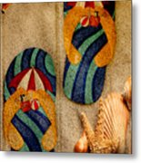 The Sands Of Summer - Flip Flops Metal Print