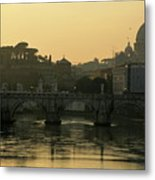 The Sant Angelo Bridge And The Papal Basilica Of Saint Peter At Sunset In Vatican City Metal Print