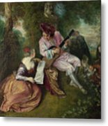 The Scale Of Love Metal Print by Jean-Antoine Watteau