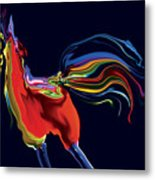 The Scared Rooster Metal Print
