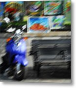 The Scooter Is Blue Metal Print