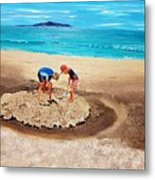 The Sea Surges Up With Laughter Metal Print