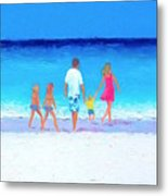 The Seaside Holiday - Beach Painting Metal Print