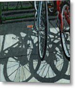 The Secret Meeting - Bicycle Shadows Metal Print