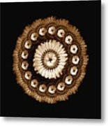 The Sepia Feather And Beadwork Of Flower Metal Print by Jacqueline Migell