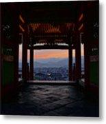 The Setting Sun And Kiyomizu-dera Metal Print