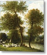 The Shepherd's Break With  His Sheep Metal Print