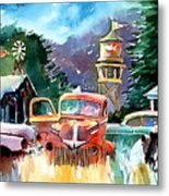 The Sign Of The Fish On The Watertower Metal Print