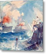 The Sinking Of A German U Boat After Being Rammed By The British Cruiser  Metal Print