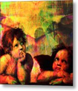 The Sistine Modonna Baby Angels In Abstract Space 20150622 Square Metal Print