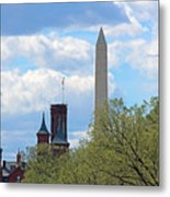 The Smithsonian Castle And Washington Monument In Green Metal Print