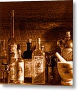The Snake Oil Shop - Sepia Metal Print
