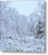 The Snow Falls To The Trees Metal Print