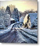 The Snowy Cottages Metal Print