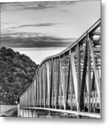 The South Llano River Bridge Black And White Metal Print
