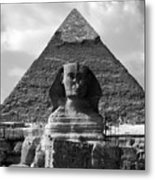 The Sphynx And The Pyramid Metal Print