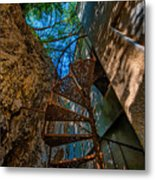 The Spiral Staircase Of The Abbandoned Children Summer Vacation Building - La Scala A Chiocciola Del Metal Print