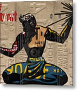 The Spirit Of Detroit Statue Recycled Michigan License Plate Art Homage Metal Print
