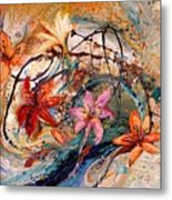 The Splash Of Life 17. Humming-bird And Exotic Flowers Metal Print