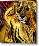 The Squinting Lion Metal Print