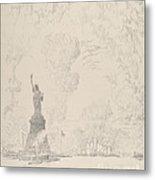 The Statue, New York Bay Metal Print
