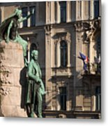 The Statue Of France Preseren And His Muse Metal Print