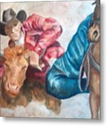 The Steer Wrestler Metal Print