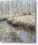 The Stickman By The Stream Metal Print