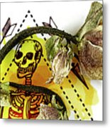 The Still Life With A Winter Rose Flower In A Macabre Style. Metal Print