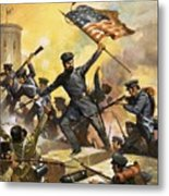 The Storming Of The Fortress At Chapultec Metal Print by English School