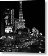 The Strip By Night B-w Metal Print