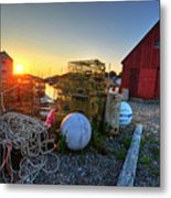 The Sun Rising By Motif 1 In Rockport Ma Bearskin Neck Lobster Traps Metal Print