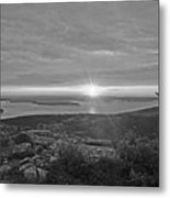 The Sunrise From Cadillac Mountain In Acadia National Park Black And White Metal Print