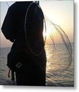 The Sunset Fisherman Metal Print