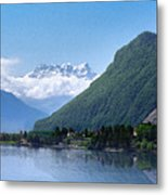 The Swiss Alps Overlooking Lake Geneva Metal Print