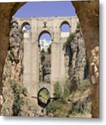 The Tajo De Ronda And Puente Nuevo Bridge Andalucia Spain Europe Metal Print