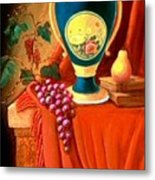 The Teal Vase On A Red Cloth Metal Print