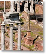 The Temple Of Castor And Pollux At The Forum From The Palatine Metal Print