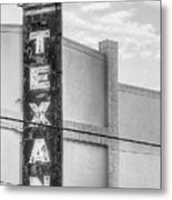 The Texan Theater Marquee In Black And White Metal Print