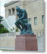 The Thinker And The Shuttlecock Metal Print