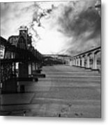 The Three Benicia-martinez Bridges . A Journey Through Time . Black And White Metal Print by Wingsdomain Art and Photography