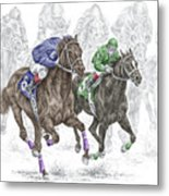 The Thunder Of Hooves - Horse Racing Print Color Metal Print