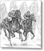 The Thunder Of Hooves - Horse Racing Print Metal Print